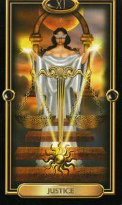 Justice card of tarot deck